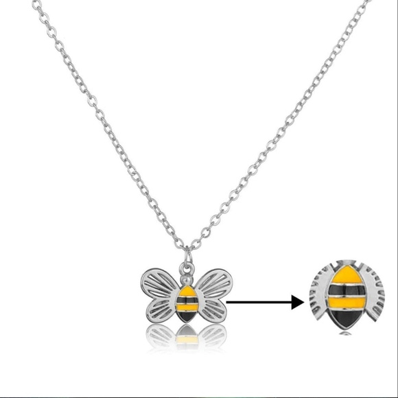 Jewelry - Dainty Silver Honeycomb Bumble Bee Necklace
